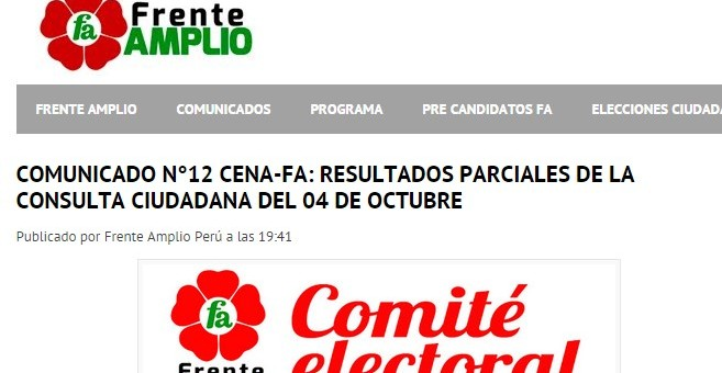 Frente Amplio publica resultados de las elecciones internas realizas el 4 de octubre