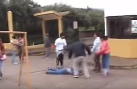 Increíbles imágenes de violencia física contra un mujer (Video)