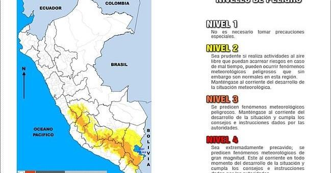 Senamhi advierte lluvias y vientos en la sierra sur del Perú