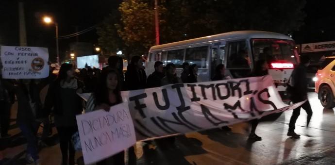 Jóvenes cusqueños marchan contra la candidatura de Keiko Fujimori
