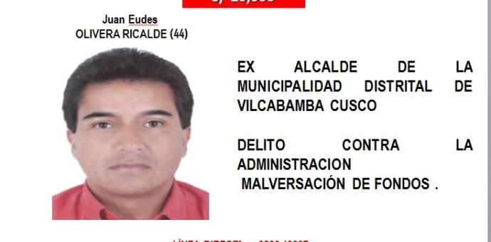 Ex Alcalde prófugo del distrito de Vilcabamba Juan Olivera dentro de los delincuentes más buscados del país