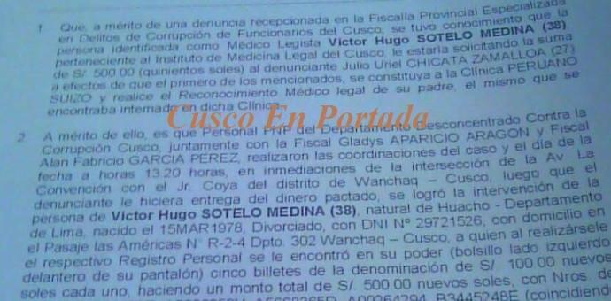 Cusco: Capturan a médico legista tras cobrar una coima de 500 soles