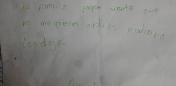 Desgarradora carta deja una niña de 10 años antes de quitarse la vida