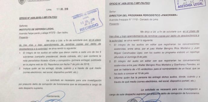 Fiscalía Suprema amenaza con procesar a IDL Reporteros y Panorama si no revelan sus fuentes