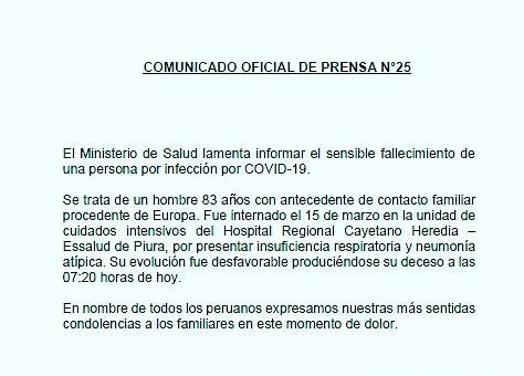 Ciudadano de 83 años es el quinto a nivel nacional en fallecer por Coronavirus