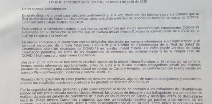Hudbay pide transparencia sobre los casos confirmados de Covid -19 en Chumbivilcas