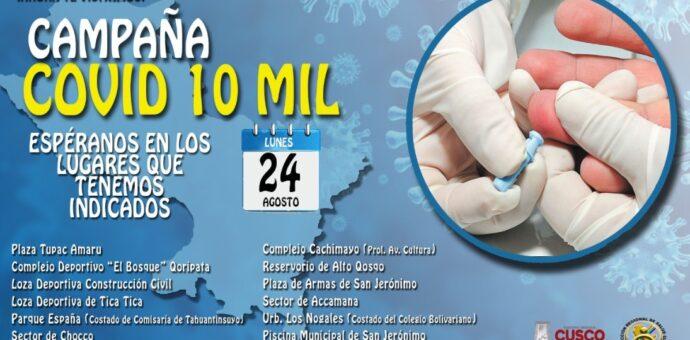 Campaña «Covid 10 Mil» se realiza este lunes 24 de agosto y realizará 10 mil pruebas Covid-19