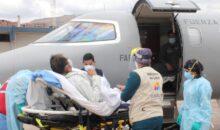 Trasladan vía aérea a adulto mayor internado en el hospital Regional con aneurisma
